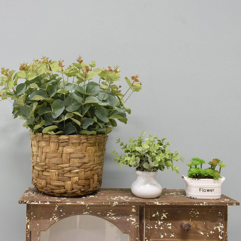 Flores artificiais Arranjo de Eucalipto Artificial no Cesto de Fibra|Linha permanente Formosinha