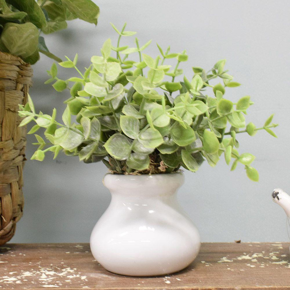 Flores artificiais Arranjo de Eucalipto no Vaso de Cerâmica|Linha permanente Formosinha