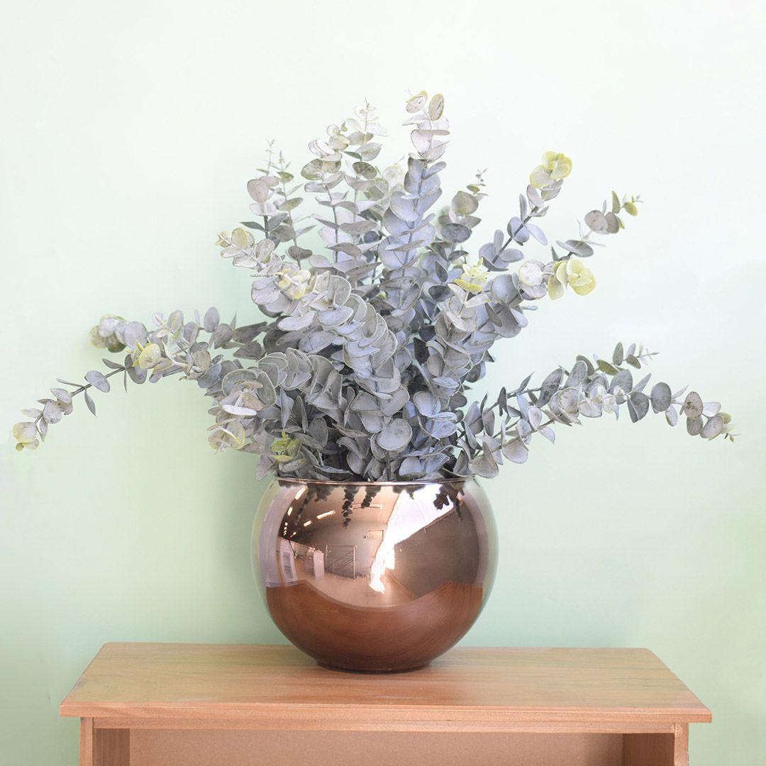 Flores artificiais Arranjo de Eucaliptos no Vaso de Vidro Bronze Envelhecido | Linha permanente Formosinha