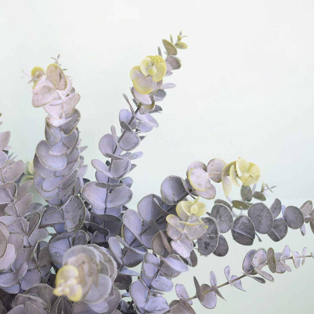 Arranjo Artificial de Eucaliptos no Vaso Prateado |Linha permanente Formosinha