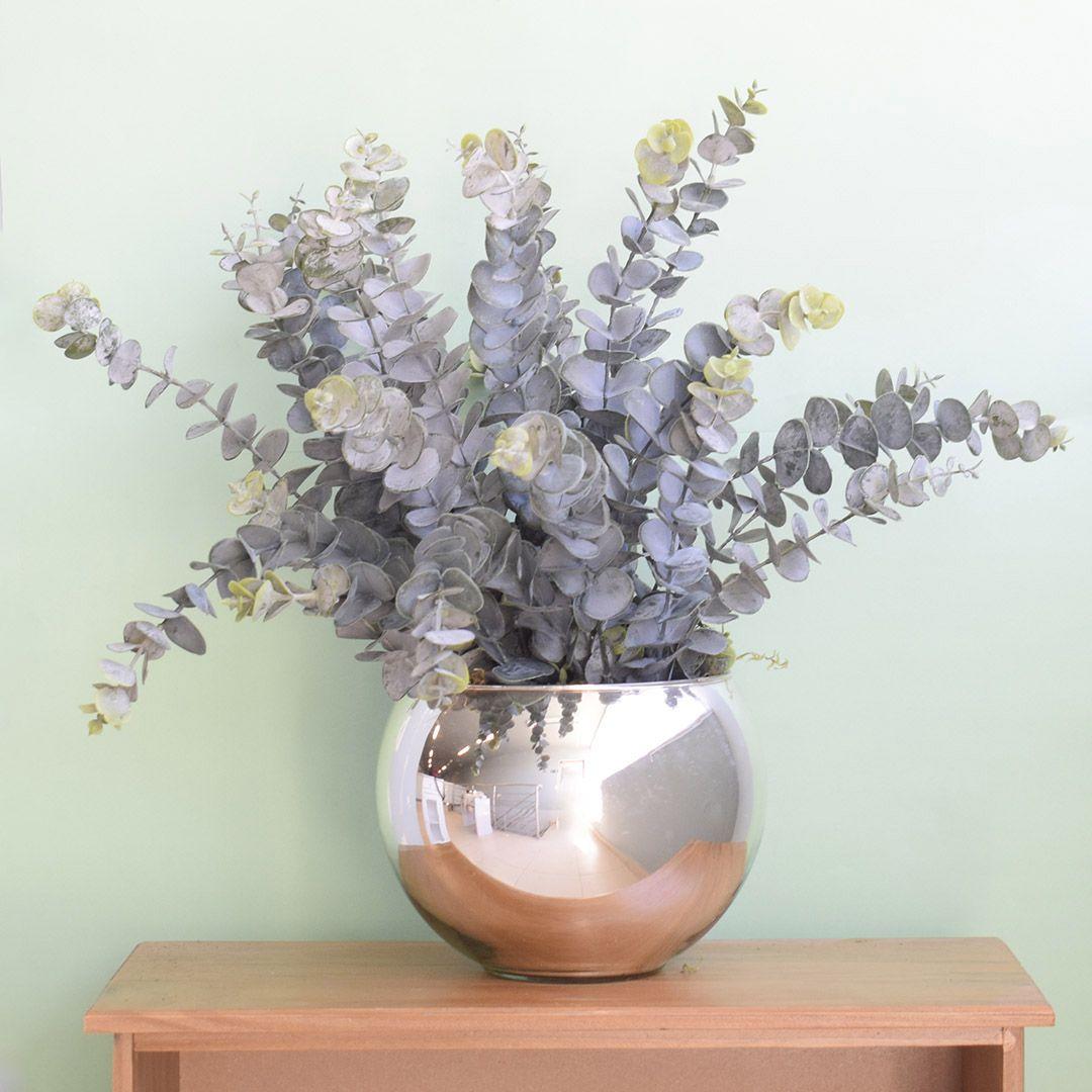 Flores artificiais Arranjo de Eucaliptos no Vaso Espelhado |Linha permanente Formosinha