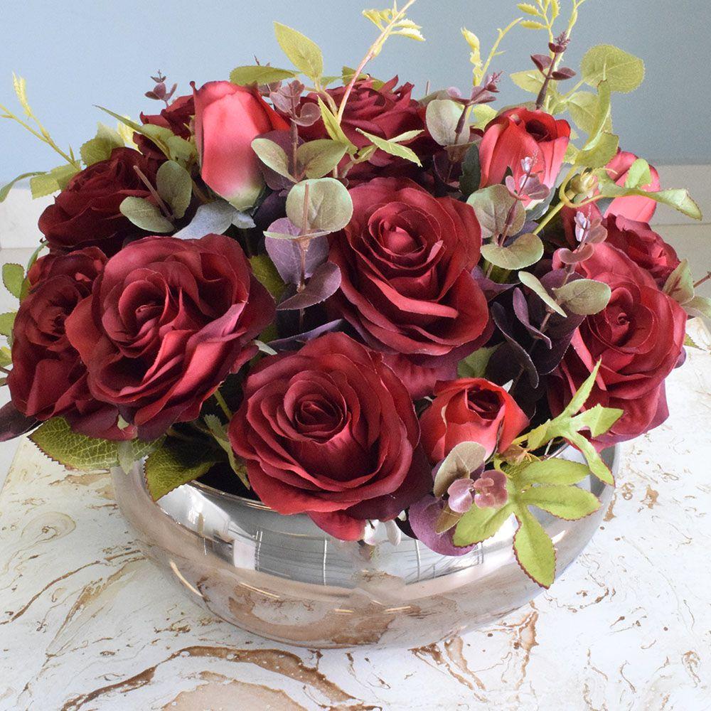 Flores artificiais Arranjo de Flores Rosas Vermelhas Artificial no Vaso Bronze|Linha permanente Formosinha