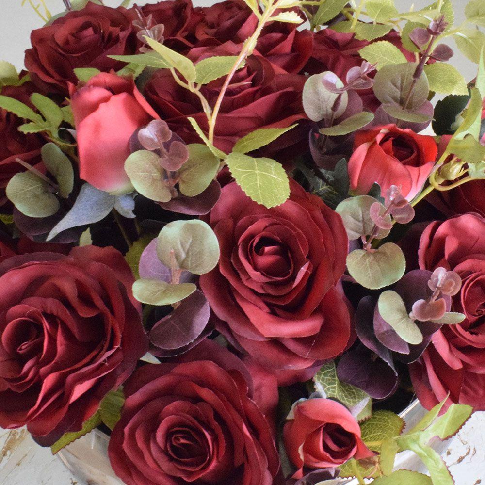 Arranjo de Flores Artificiais Rosas Vermelhas no Vaso Bronze