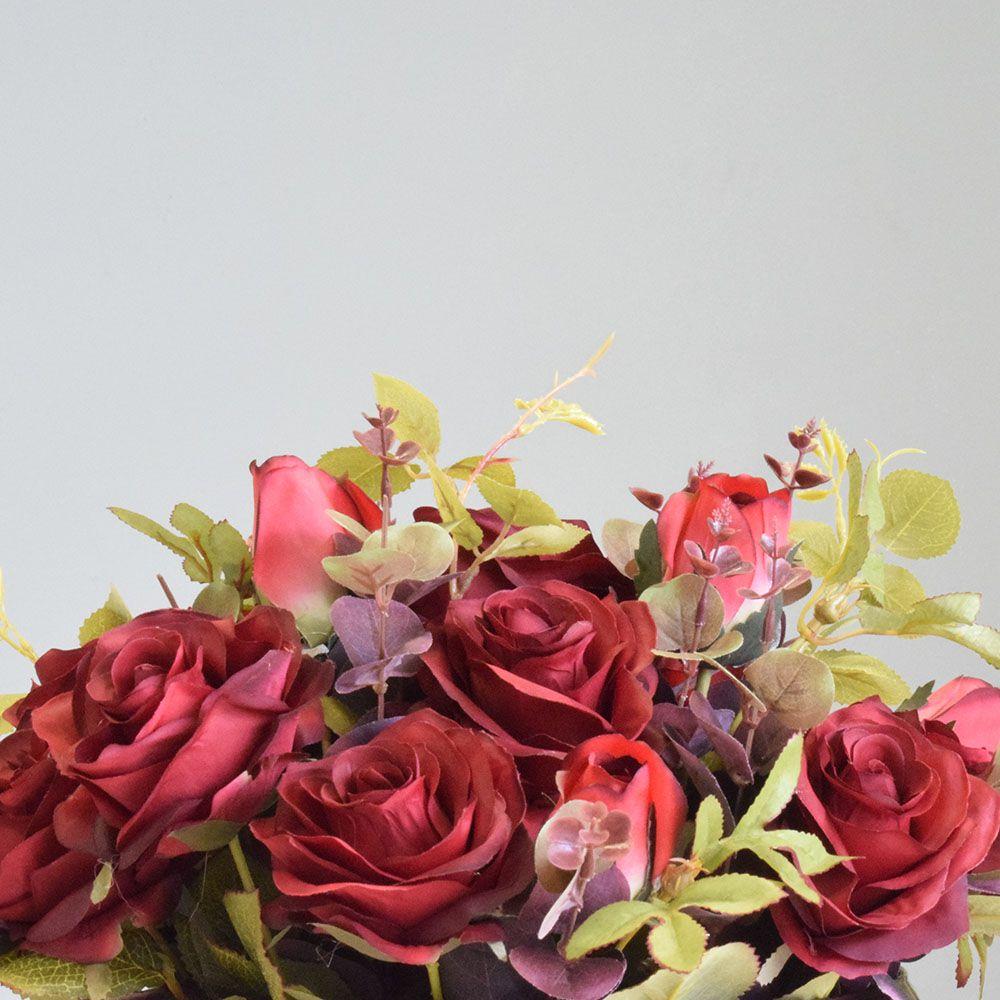 Arranjo de Flores Artificiais Rosas Vermelhas no Vaso Bronze|Linha permanente Formosinha