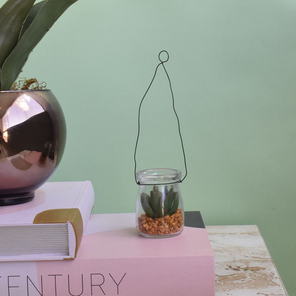 Arranjo de Flores Suculenta Artificial no Vaso de Vidro|Linha permanente Formosinha