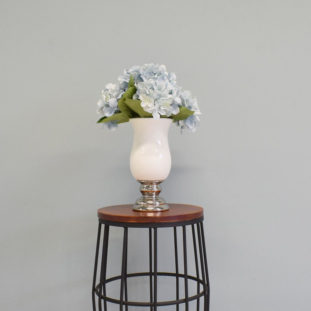 Flores artificiais Arranjo de Hortênsias Artificial no Vaso Branco e  Prata|Linha permanente Formosinha