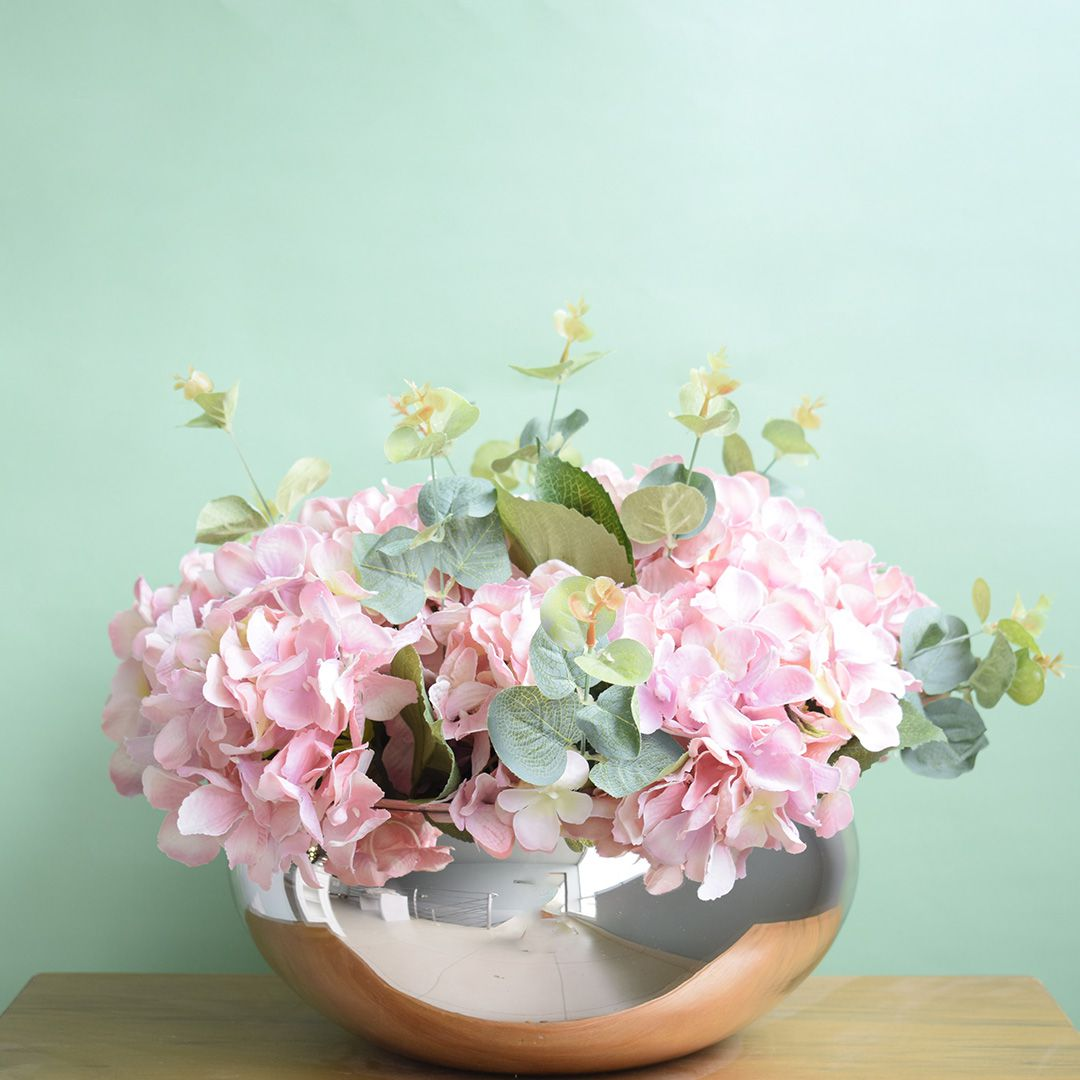 Arranjo de Flores Artificiais Hortênsias Rosas no Vaso Rose Gold|Linha permanente Formosinha