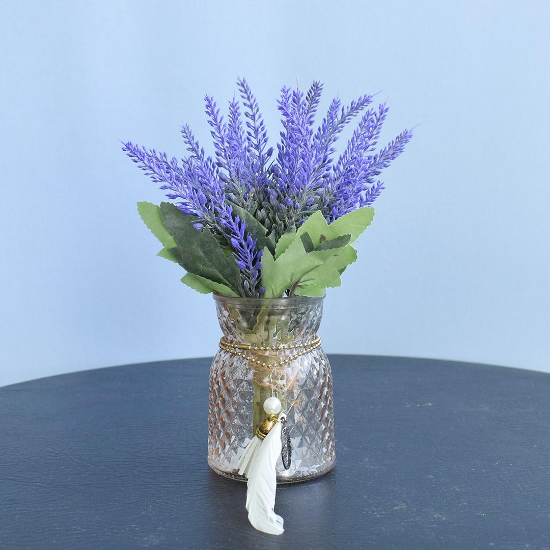 Flores artificiais Arranjo de Lavandas no Vaso Âmbar |Formosinha