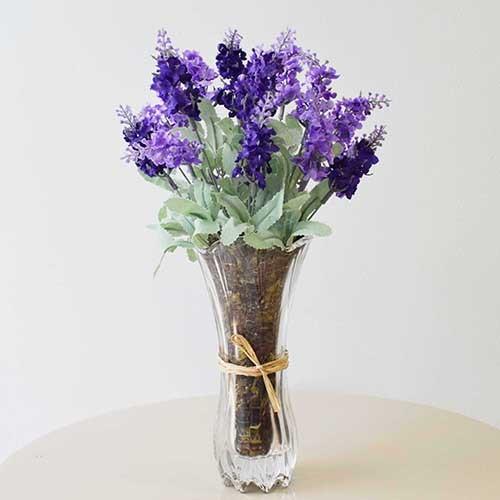 Flores artificiais Arranjo de Lavandas no Vaso de Vidro| Linha permanente Formosinha