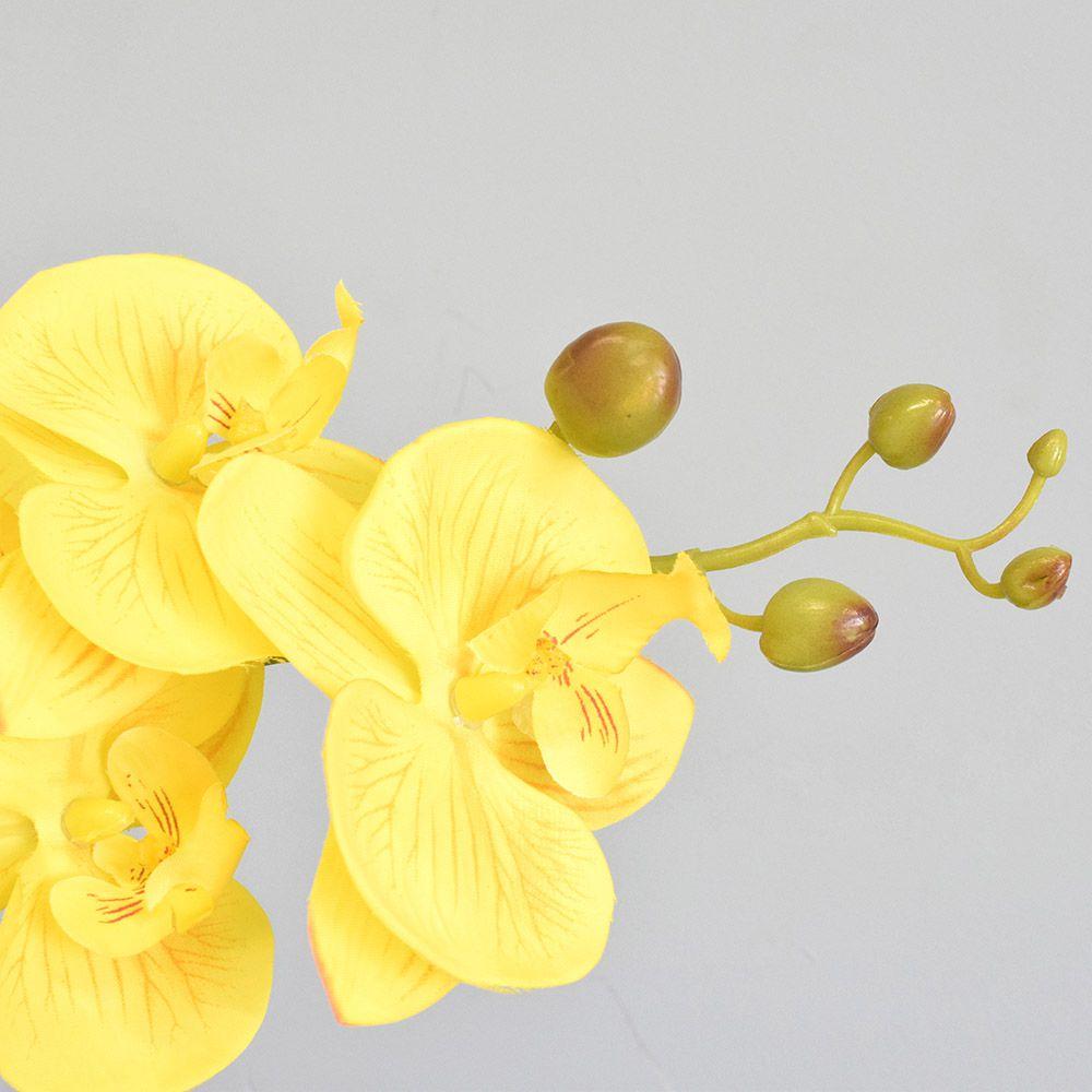 Flores artificiais Arranjo de Orquídea Amarela no Vaso Transparente|Linha permanente Formosinha