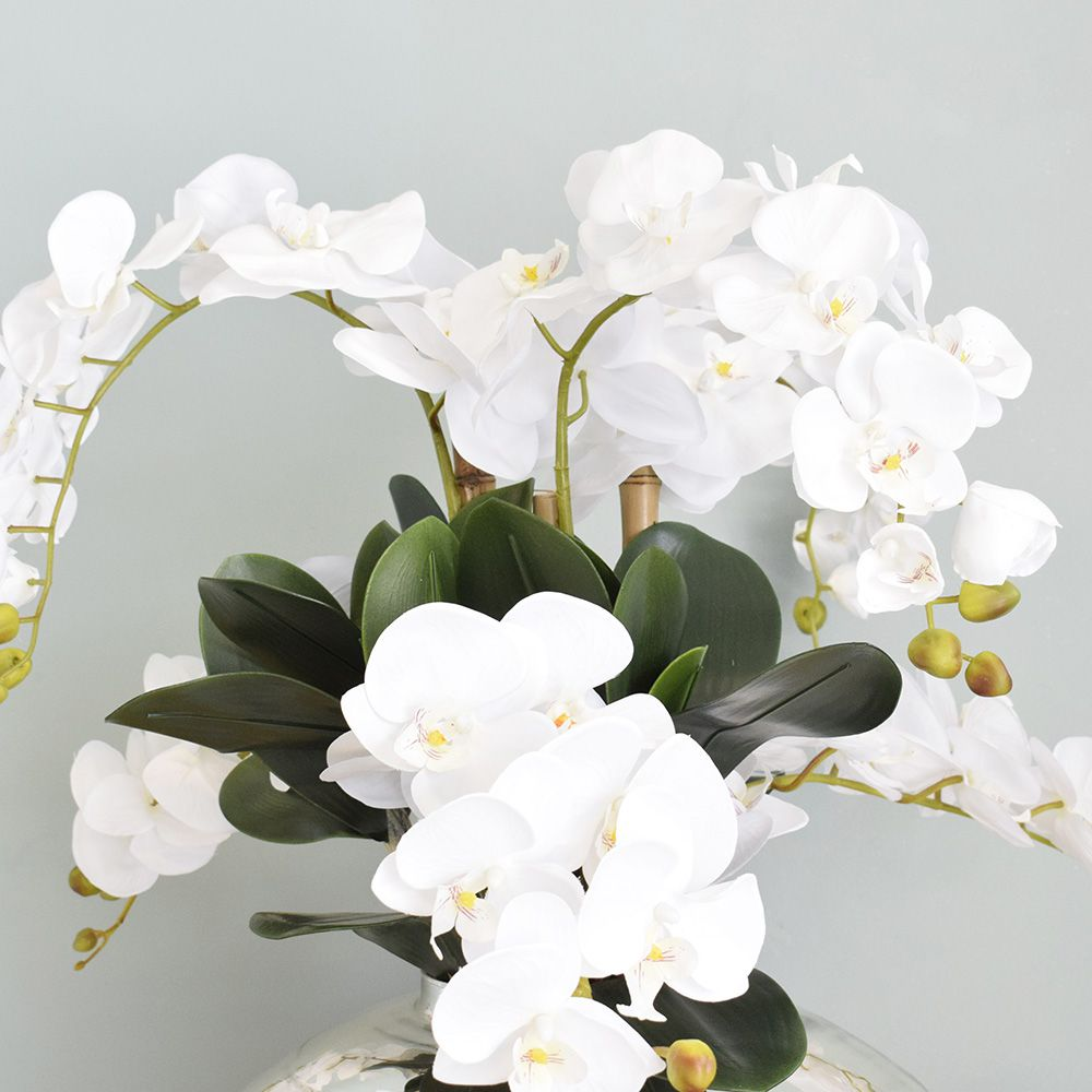 Arranjo de Flores Artificiais | Orquídeas Brancas Artificial no Vaso Prata