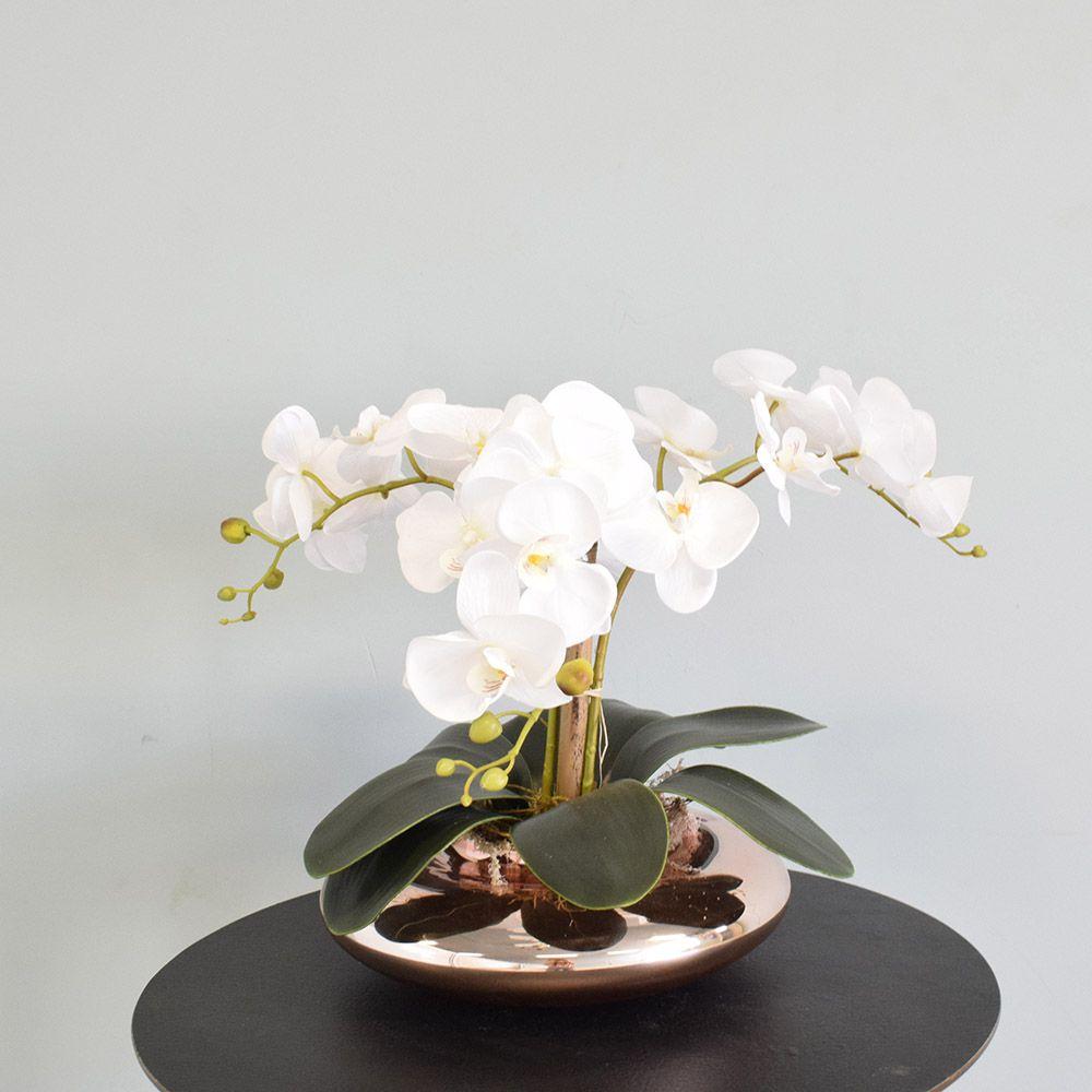 Flores artificiais Arranjo de Orquídeas Brancas Artificial no Vaso Terrário Rose Gold|Linha permanente Formosinha
