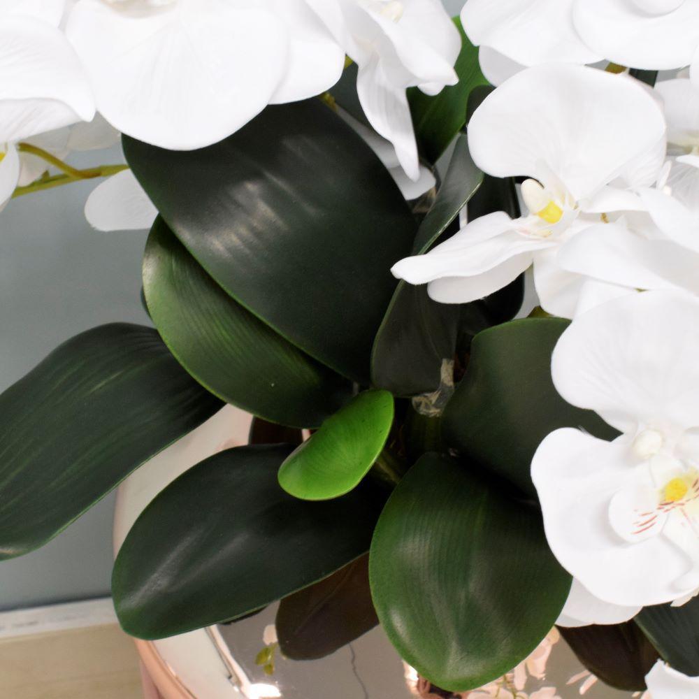 Arranjo de Orquídeas Artificiais Brancas no Vaso Rose Gold