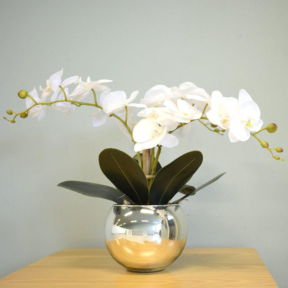 Arranjo de Flores Artificiais | Orquídeas Brancas no Vaso Prateado