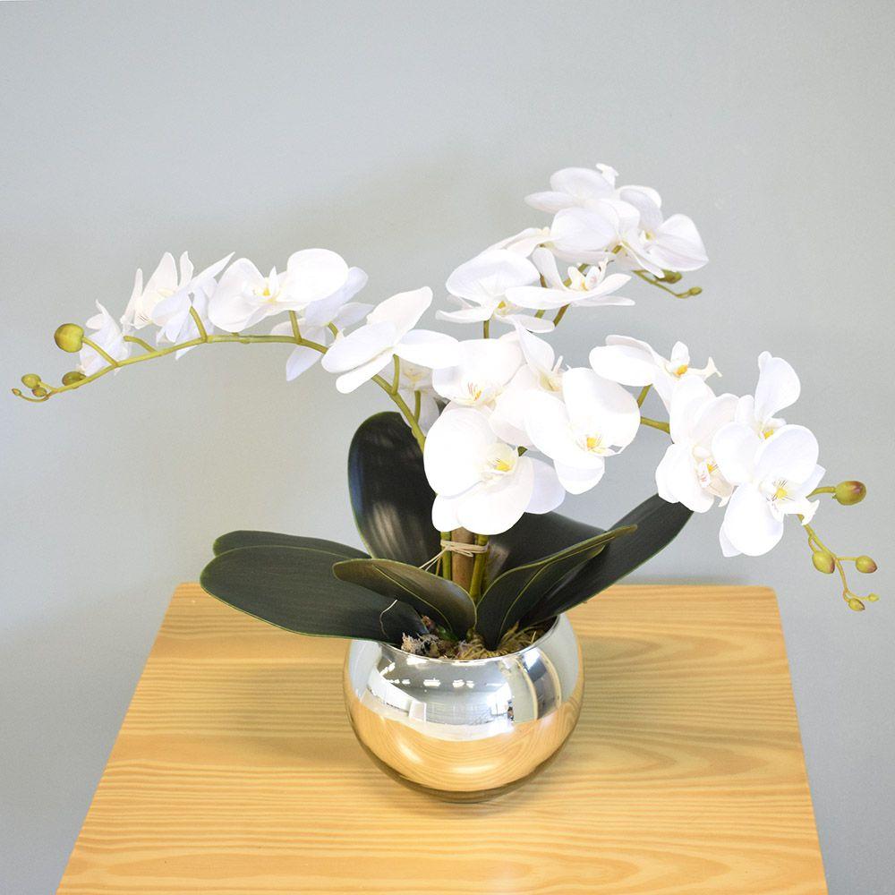 Flores artificiais Arranjo de Orquídeas Branco Artificial no Vaso Espelhado|Linha permanente Formosinha