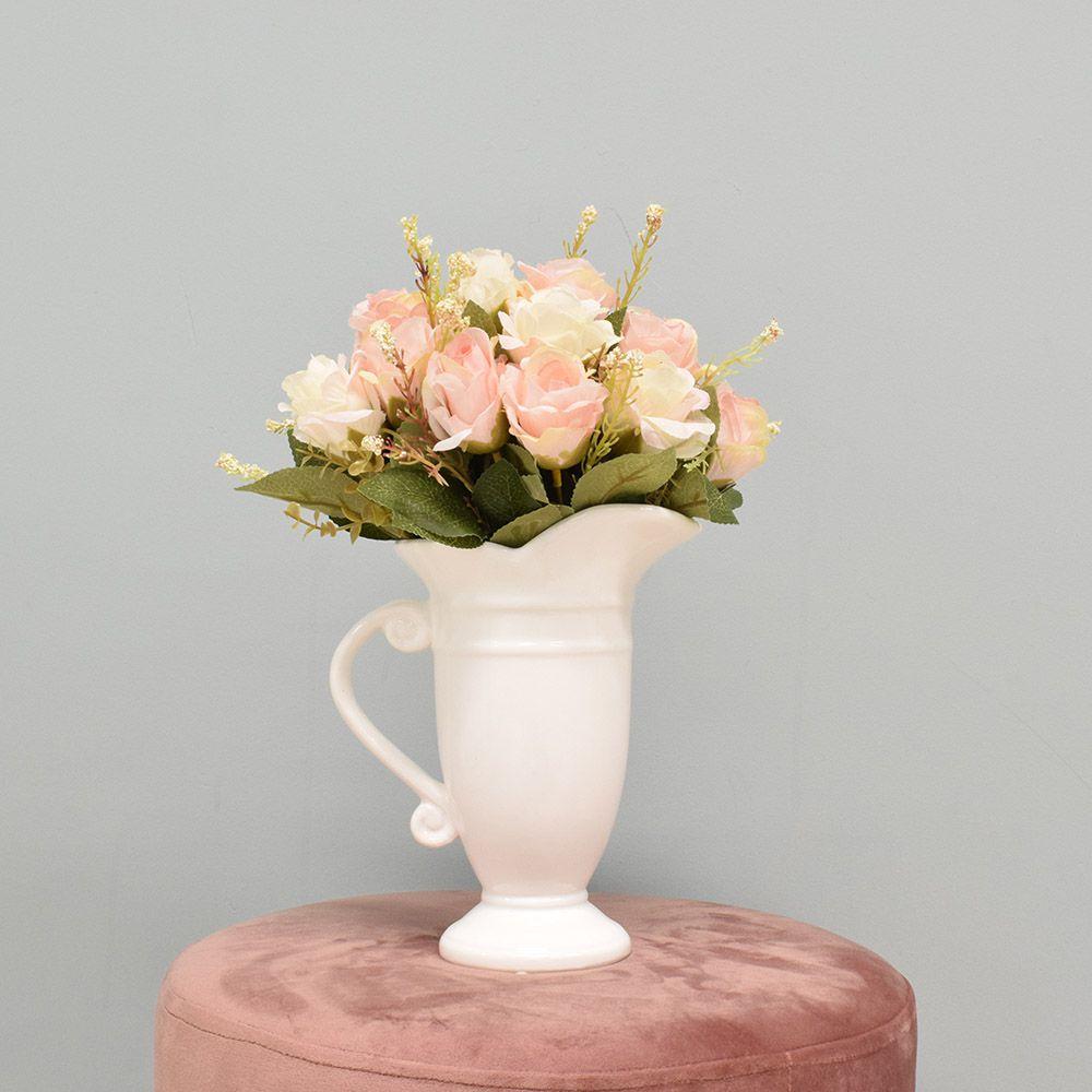 Flores artificiais Arranjo de Rosas Artificial no Jarro Branco|Linha permanente Formosinha