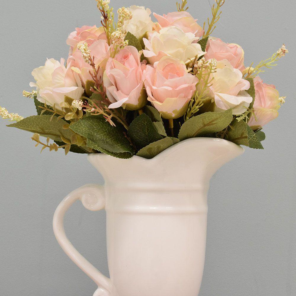Flores artificiais Arranjo de Rosas Artificial no Jarro Branco Linha permanente Formosinha