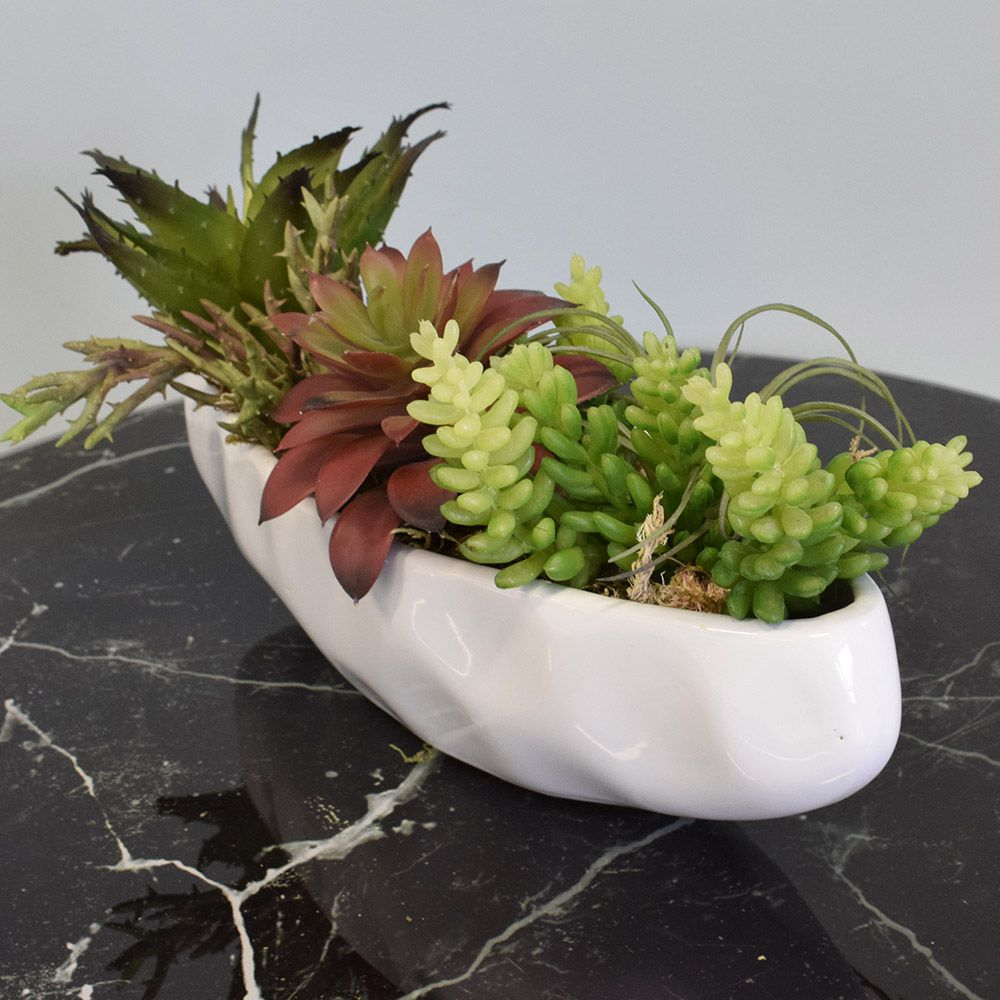 Flores artificiais Arranjo de Suculentas no Vaso Barca de Cerâmica|Linha permanente Formosinha
