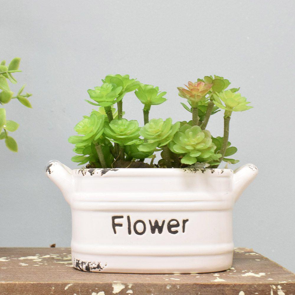 Flores artificiais Arranjo de Suculentas no Vaso de Cerâmica Branco|Linha permanente Formosinha