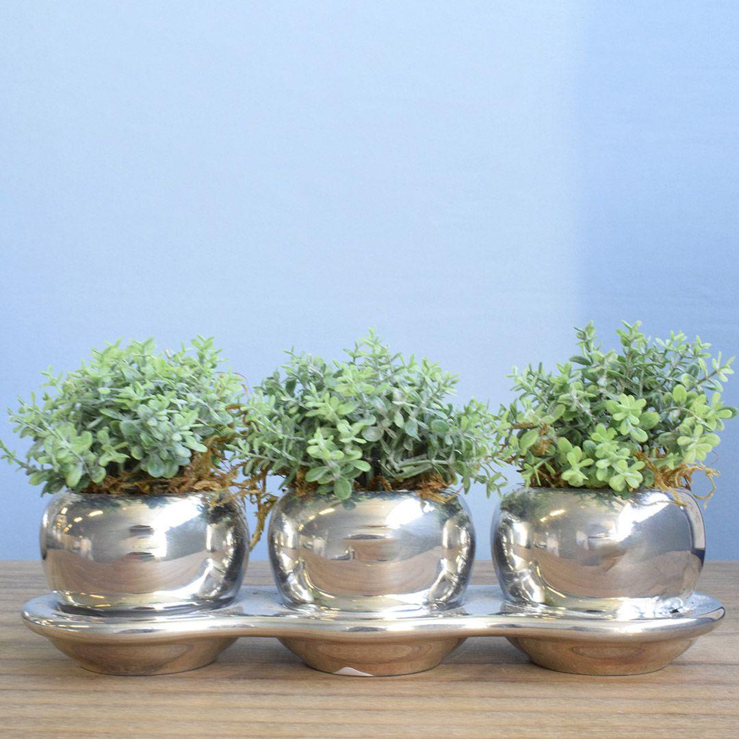 Flores artificiais Arranjo Trio de Flores Suculentas no Vaso Prateado Linha permanente Formosinha