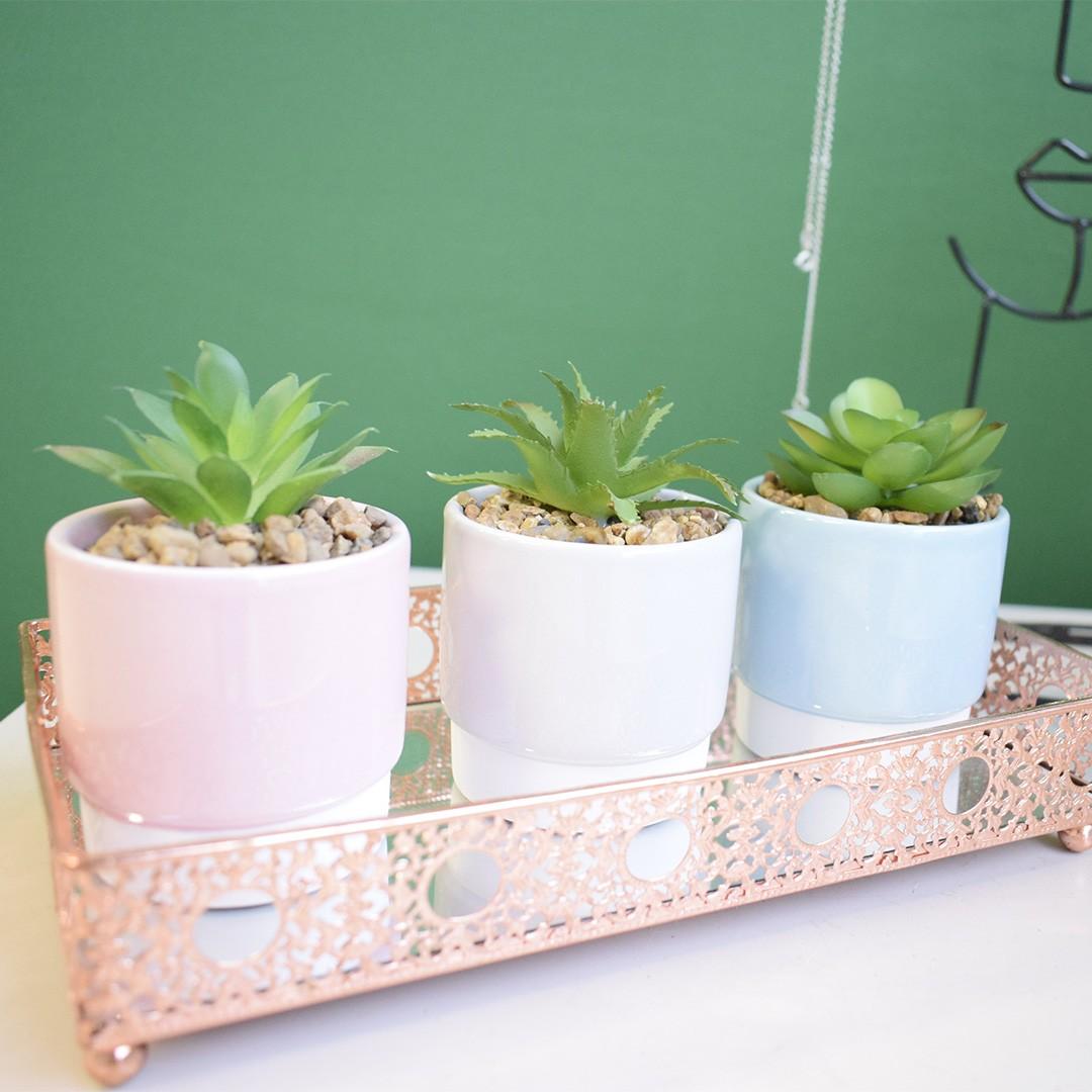 Flores artificiais Arranjo Trio de Flores Suculentas nos Vasos Coloridos | Linha permanente Formosinha