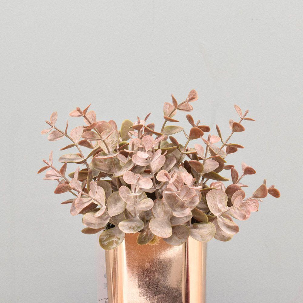 Flores Artificiais Arranjos de Eucalipto Envelhecido no Vaso Rose Gold | Linha Permanente Formosinha