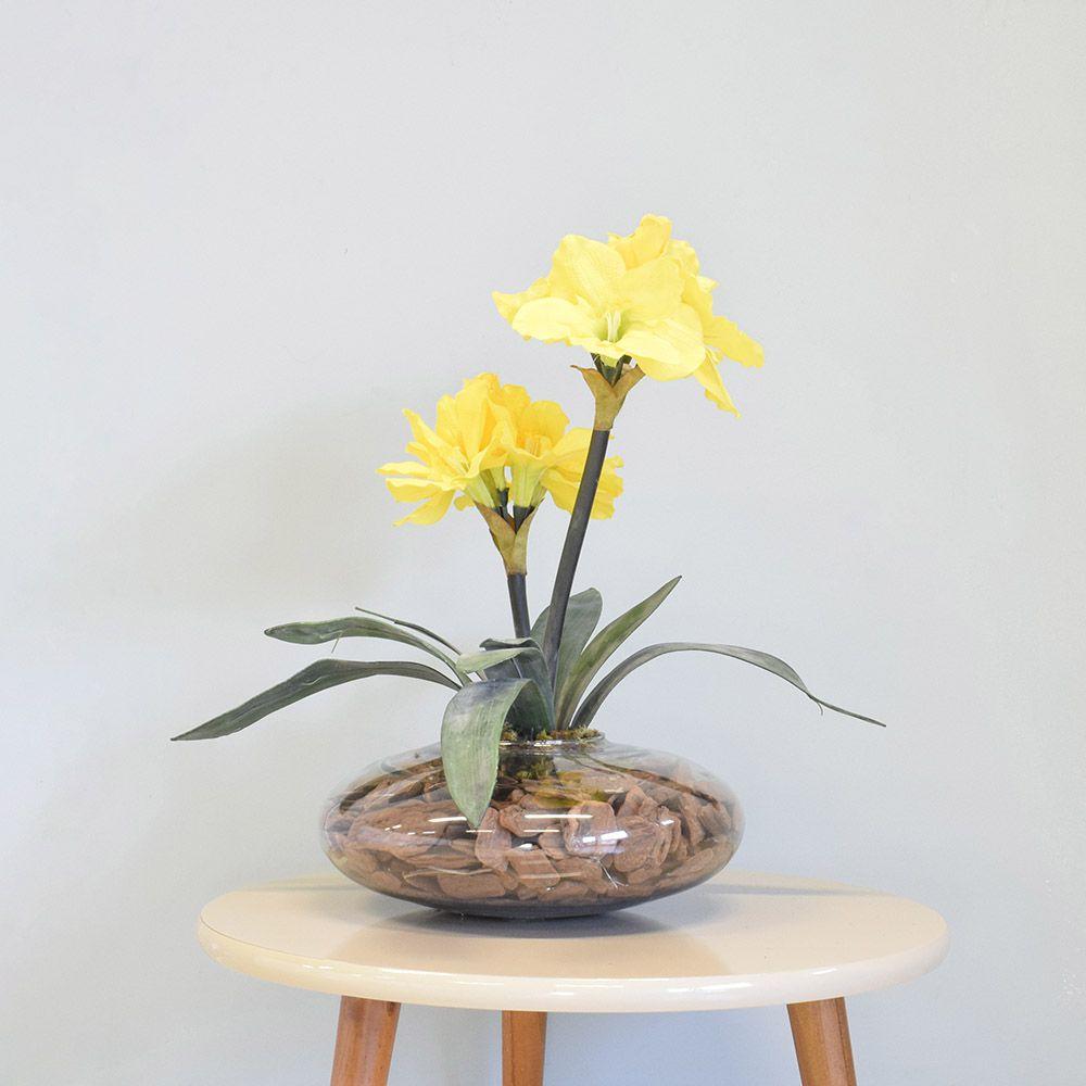 Flores artificiais Arranjos de Flores Amarílis Amarelo no Vaso de Vidro|Linha permanente Formosinha