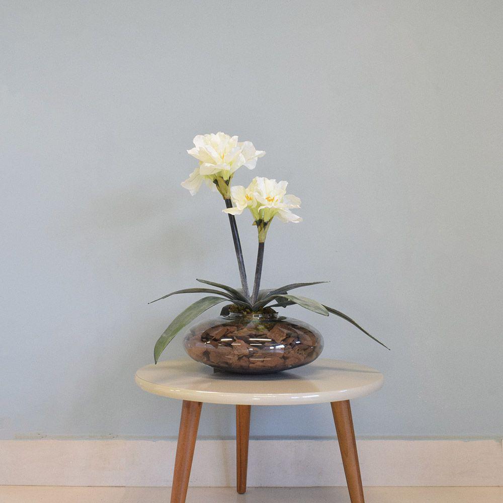 Flores artificiais Arranjos de Flores Amarílis Creme no Vaso de Vidro|Linha permanente Formosinha