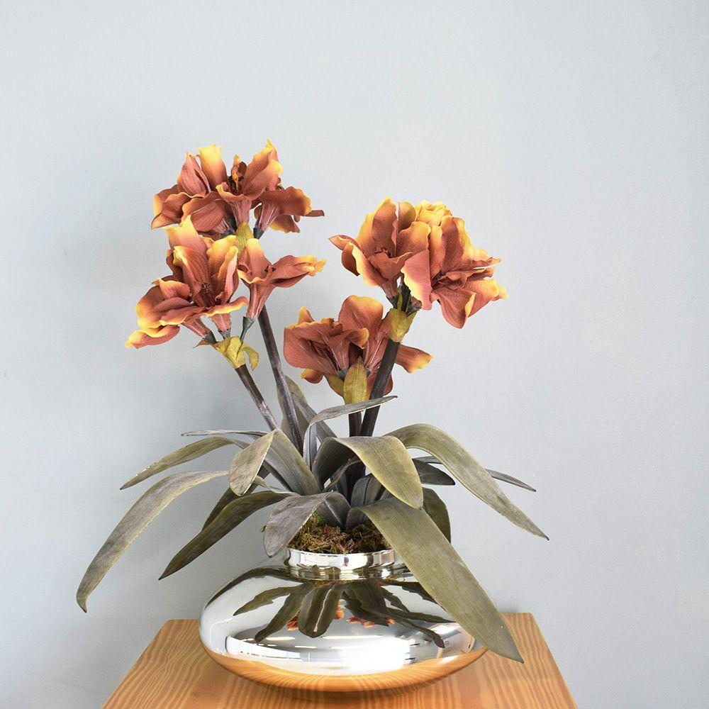 Flores Artificiais Arranjos de Flores Amarílis Envelhecido no Vaso Prateado | Linha Permanente Formosinha