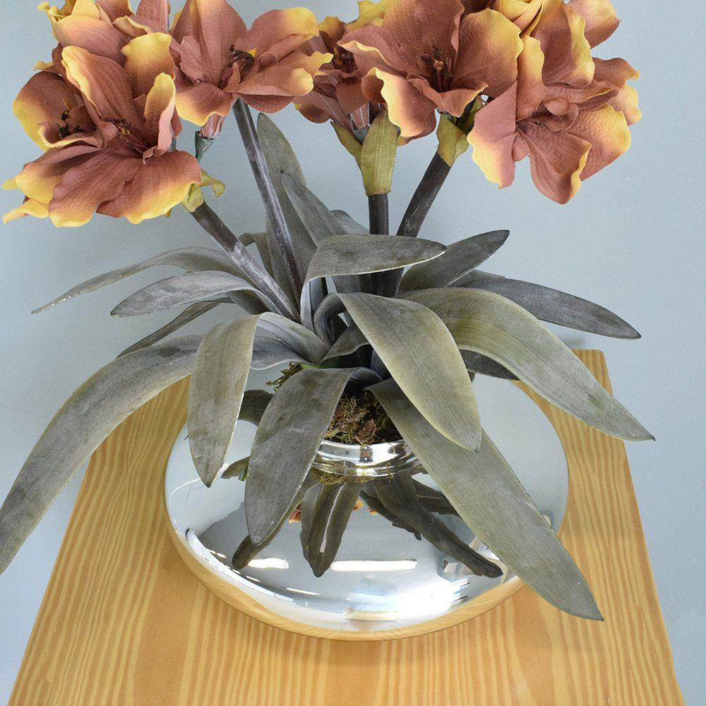 Arranjos de Flores Artificiais Amarílis Envelhecido no Vaso Prateado | Linha Permanente Formosinha