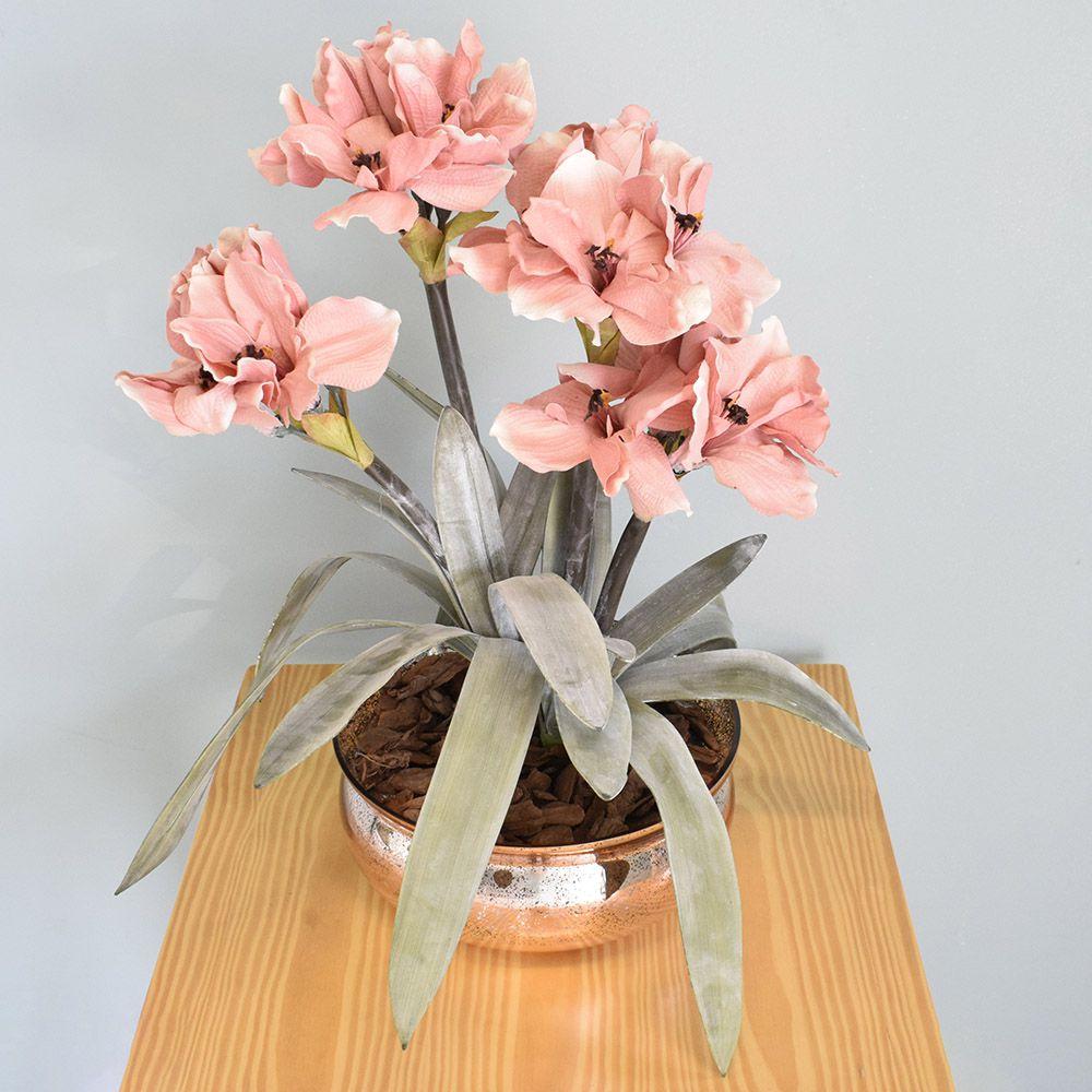Flores Artificiais Arranjos de Flores Amarílis Rosa no Vaso Rose Gold Envelhecido | Linha Permanente Formosinha
