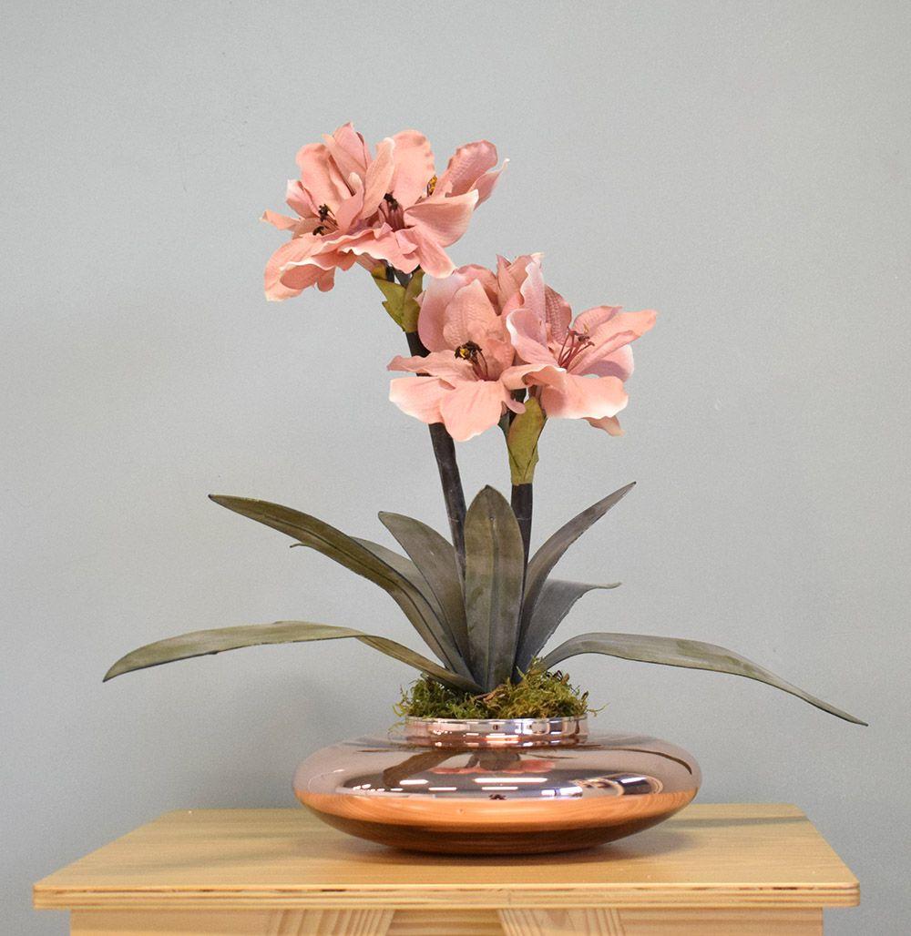 Flores Artificiais Arranjos de Flores Amarílis Rosa no Vaso Rose Gold | Linha Permanente Formosinha