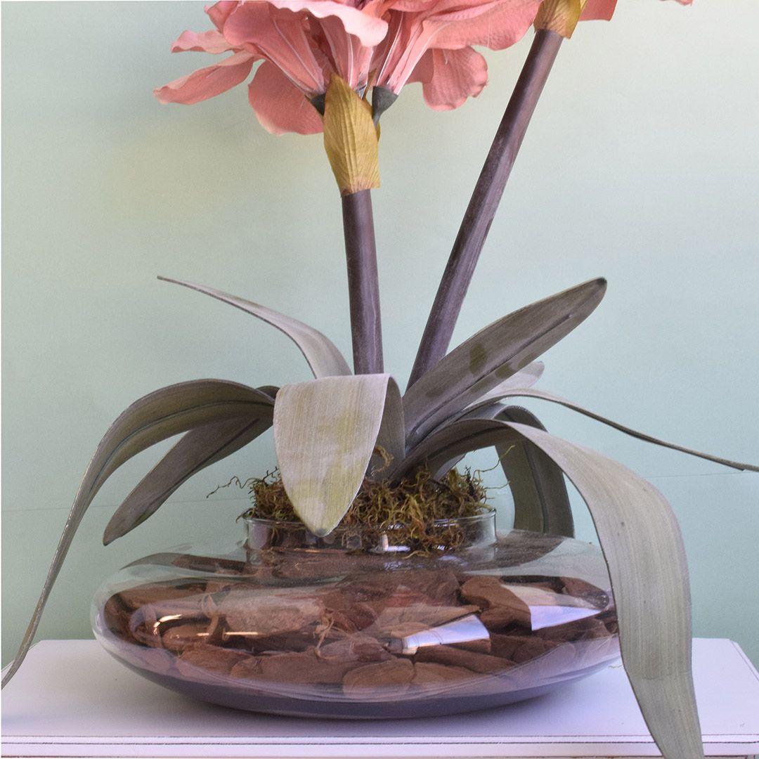 Flores Artificiais Arranjos de Flores Amarílis Rosa no Vaso Transparente | Linha Permanente Formosinha