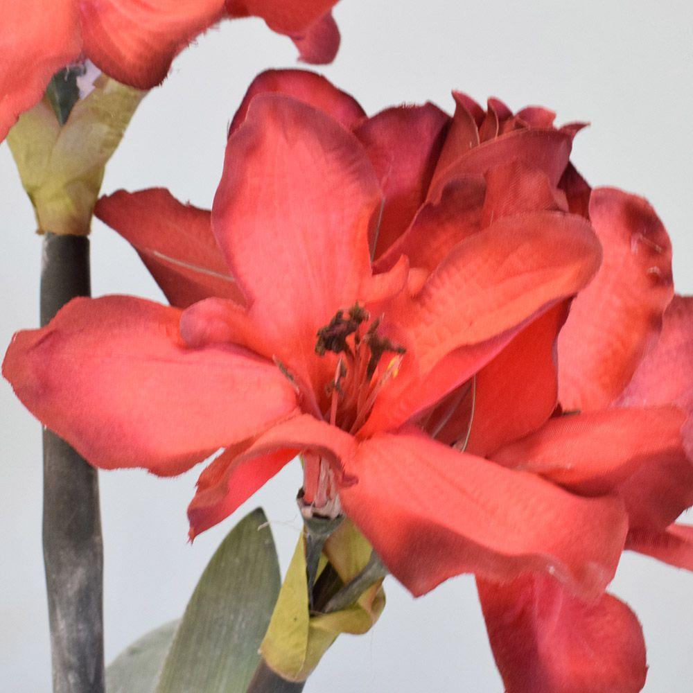 Flores artificiais Arranjos de Flores Amarílis Vermelho no Vaso de Vidro|Linha permanente Formosinha