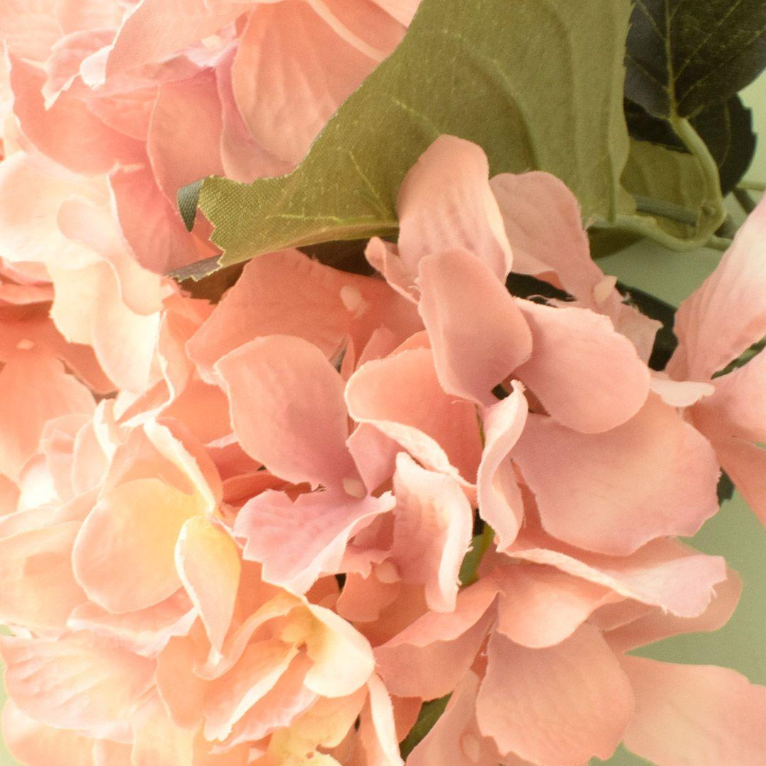 Buquê de Flor Artificial Hortênsia com Folhas Rosa | Linha permanente Formosinha