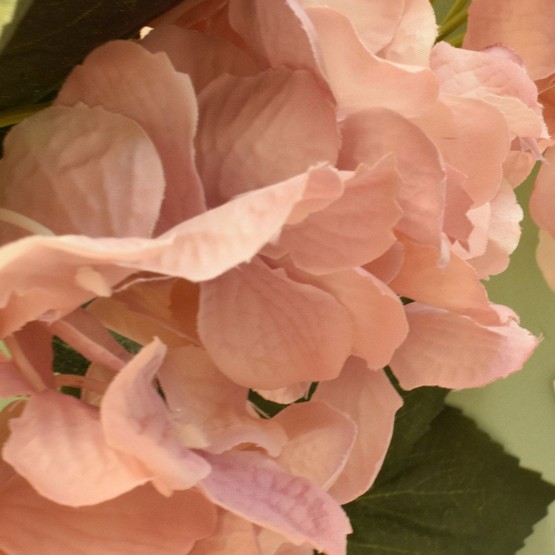 Flores artificiais Buquê de Hortência com Folhas Rosa 55cm|Linha permanente Formosinha