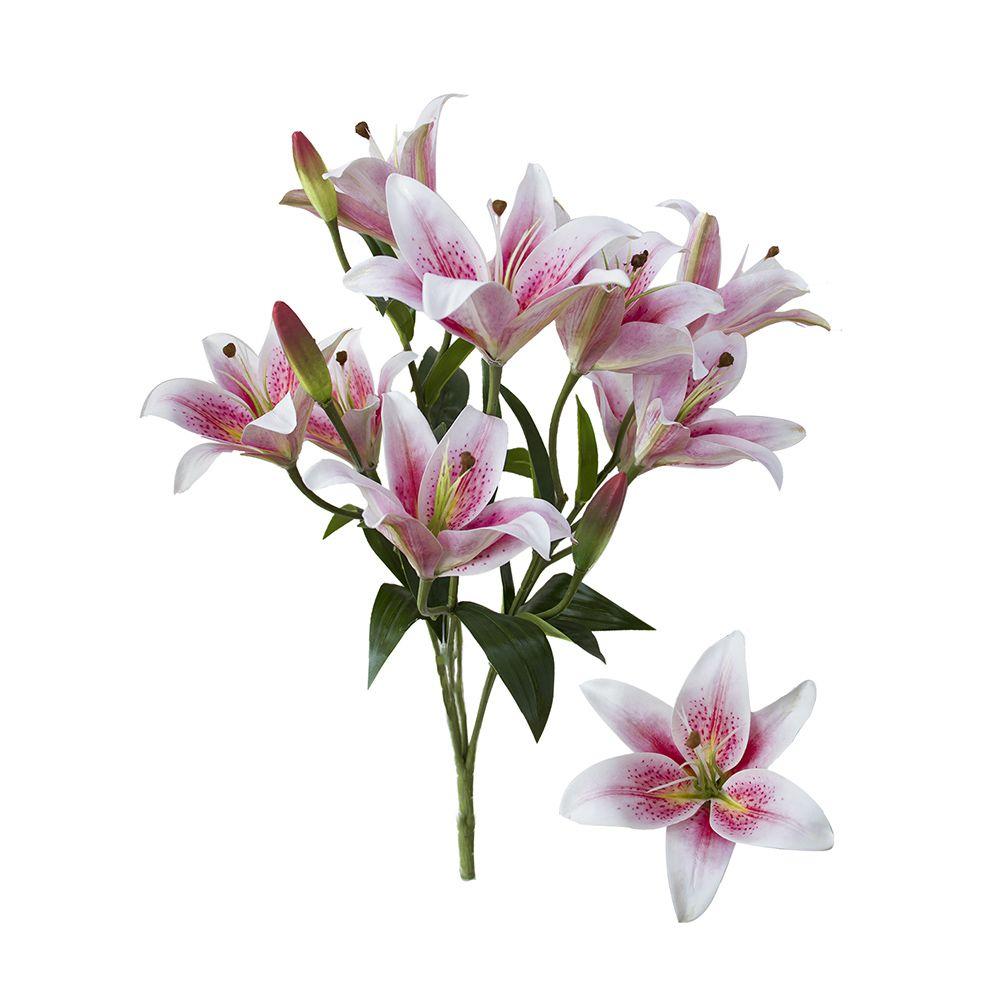 Flores artificiais Buquê de Lírios Branco e Rosa Artificial|Linha permanente Formosinha