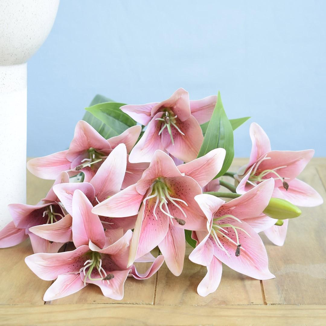 Flores Artificiais - Buquê de Lírios Rosa |Linha permanente Formosinha