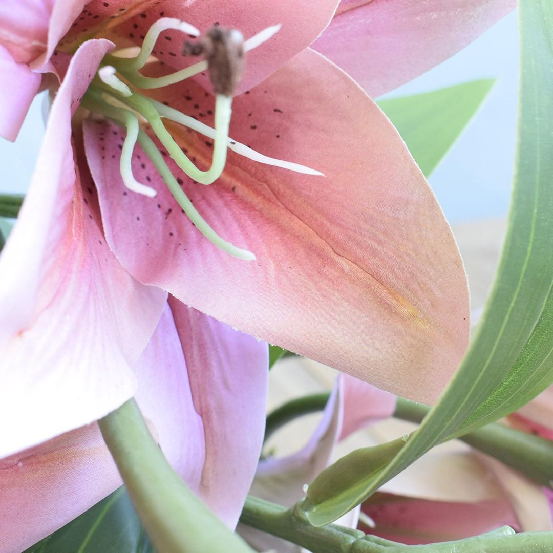 Flores Artificiais - Buquê de Lírios Rosa  Linha permanente Formosinha