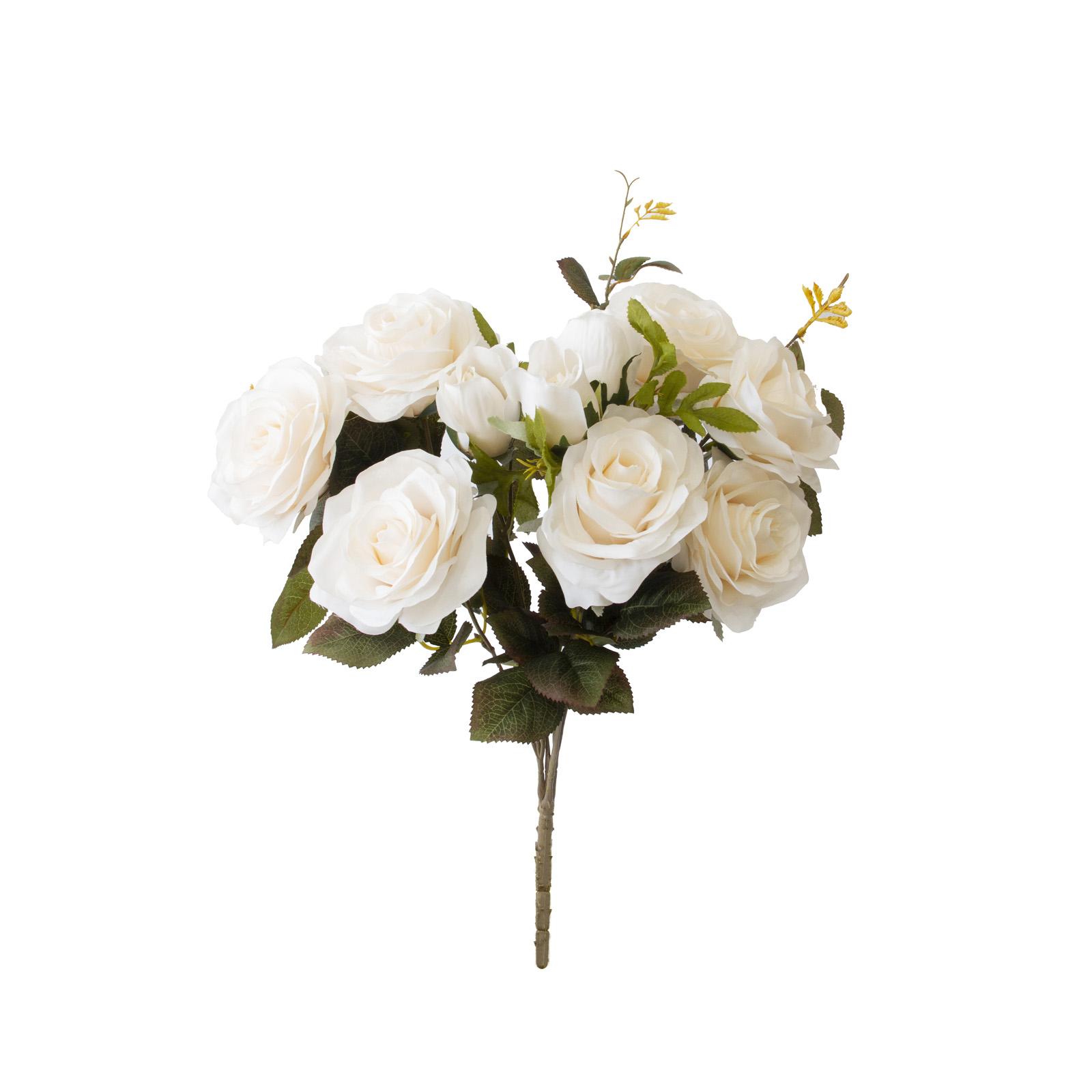 Flores Artificiais - Buquê de Rosas Diana Branco Envelhecido | Linha Permanente Formosinha
