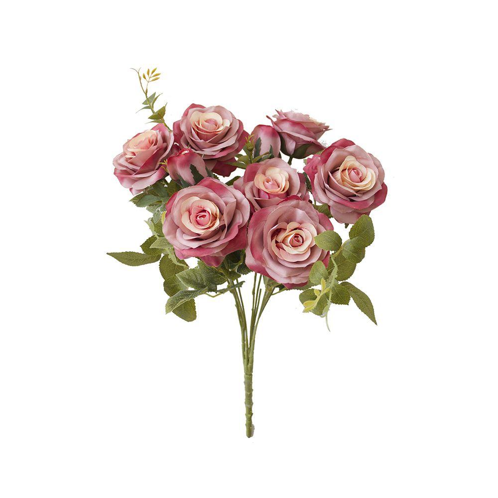 Flores Artificiais - Buquê de Rosas Diana Rosa Envelhecida | Linha Permanente Formosinha