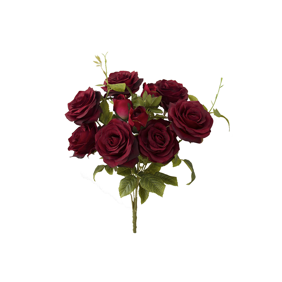 Flores Artificiais - Buquê de Rosas Diana Vermelha Envelhecida | Linha Permanente Formosinha