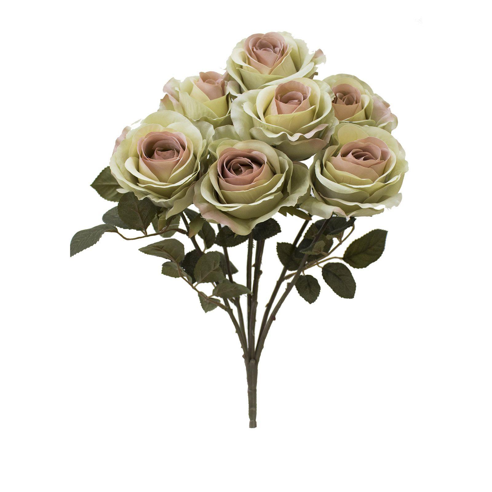 Flores artificiais Buquê de Rosas Envelhecidas Amarelo |Linha permanente Formosinha