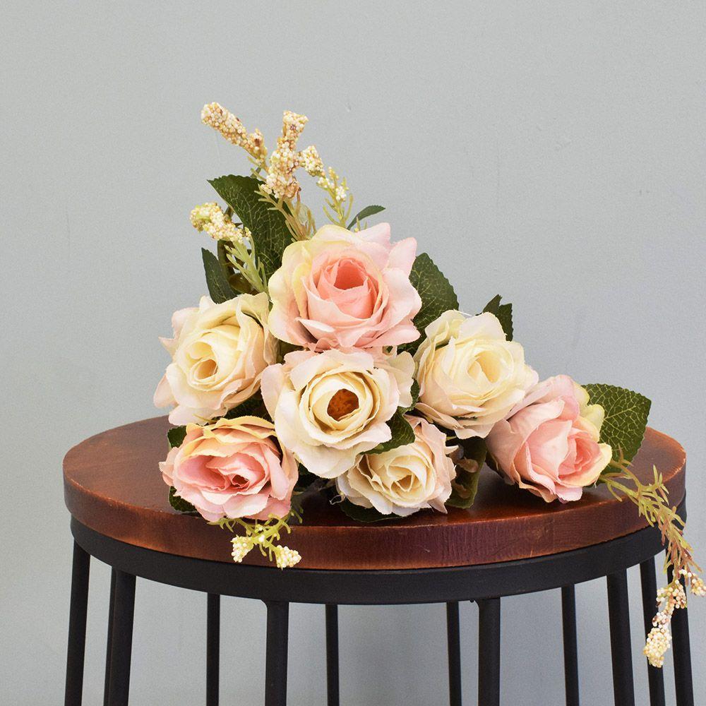Flores artificiais Buquê de Rosas Envelhecidas Rosê e Creme Artificial|Linha permanente Formosinha