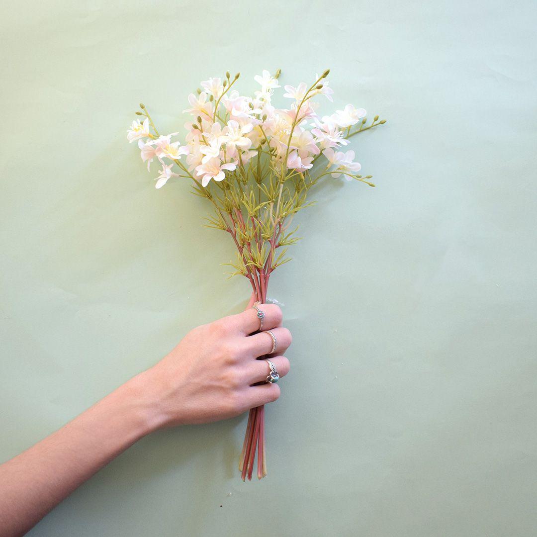 Buquê Flor-do-Campo Artificial Branco e Rosa|Linha permanente Formosinha