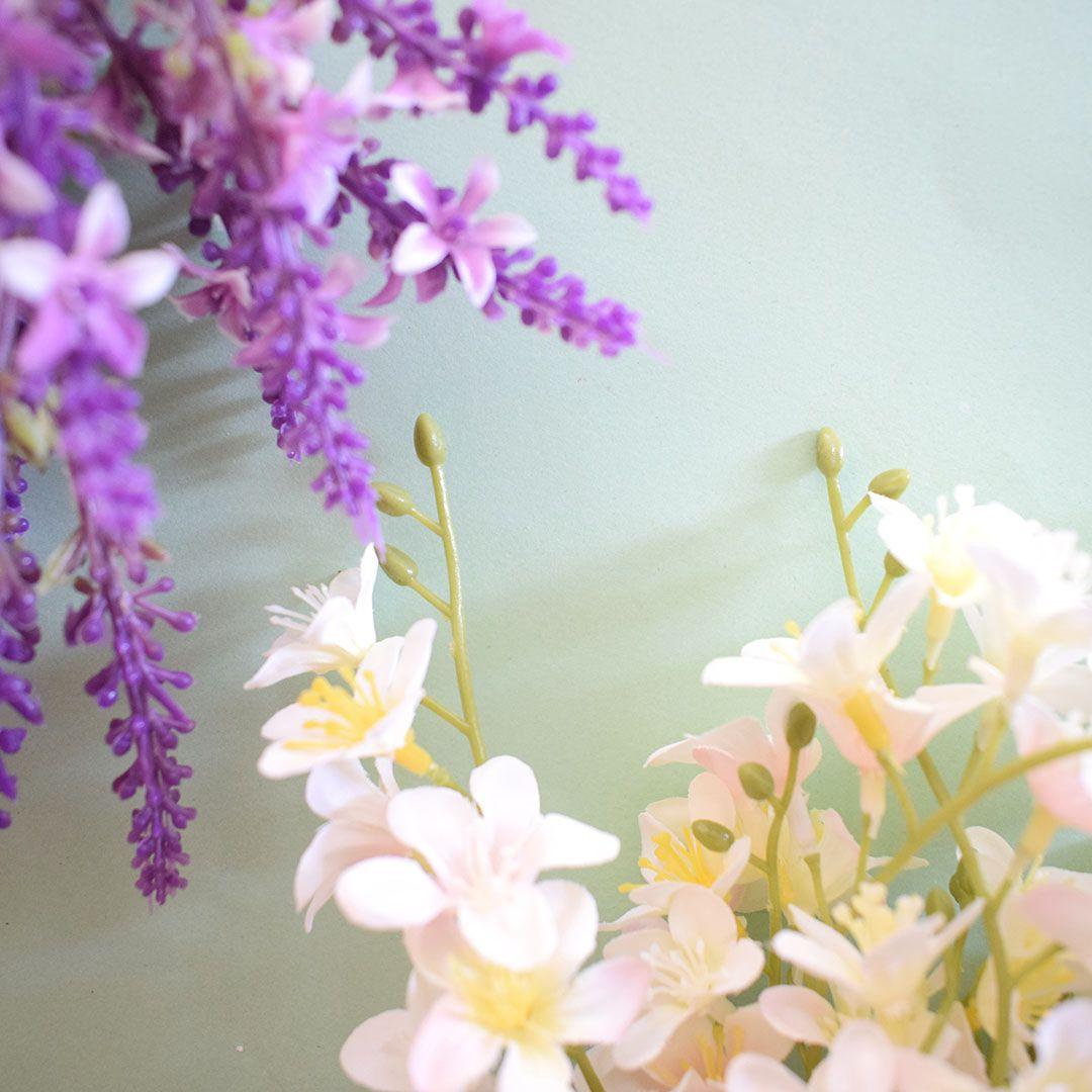 Flores artificiais Buquê Flor-do-Campo Artificial Branco e Rosa|Linha permanente Formosinha