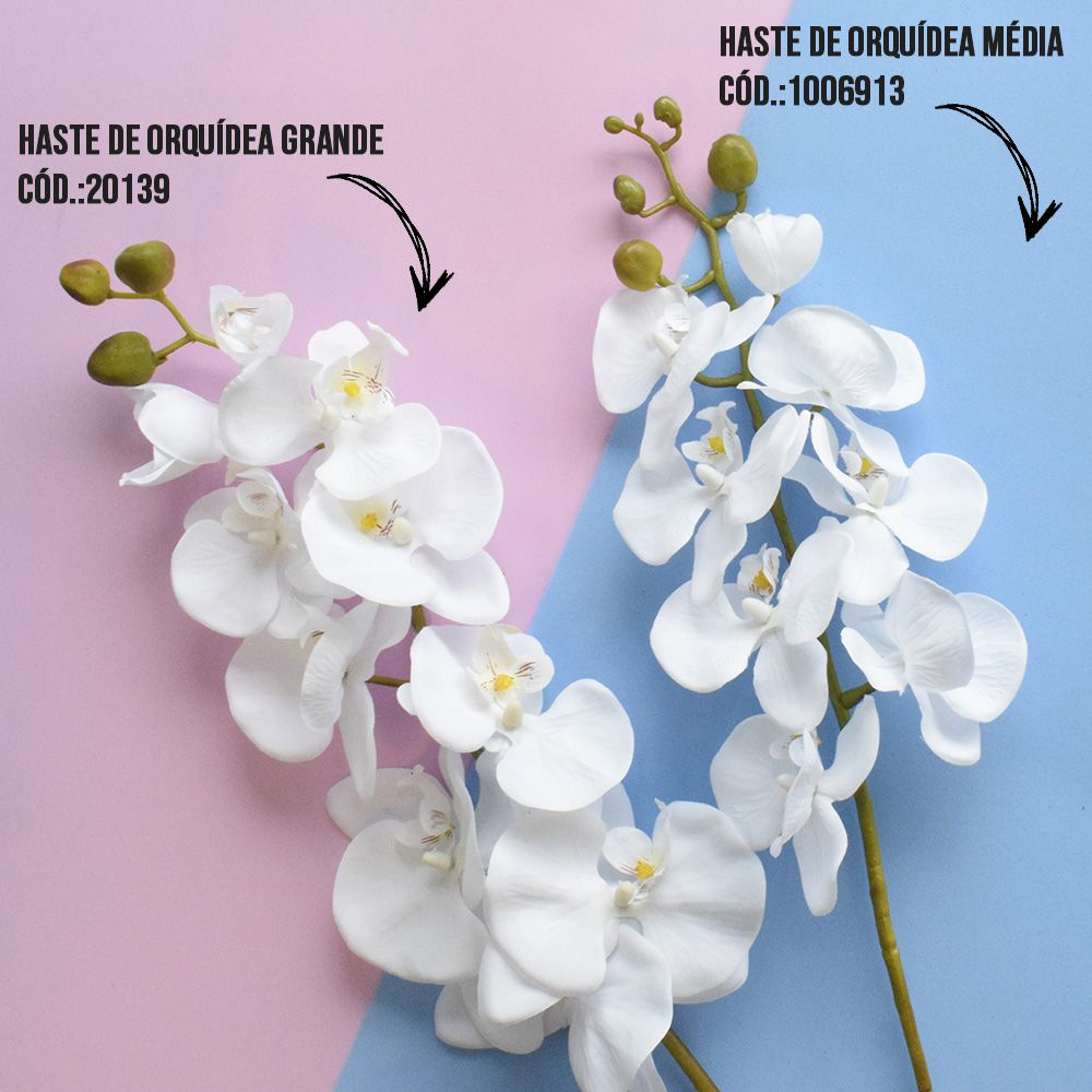 Flores Artificiais Haste de Orquídea Grande Branca | Linha Permanentes Formosinha