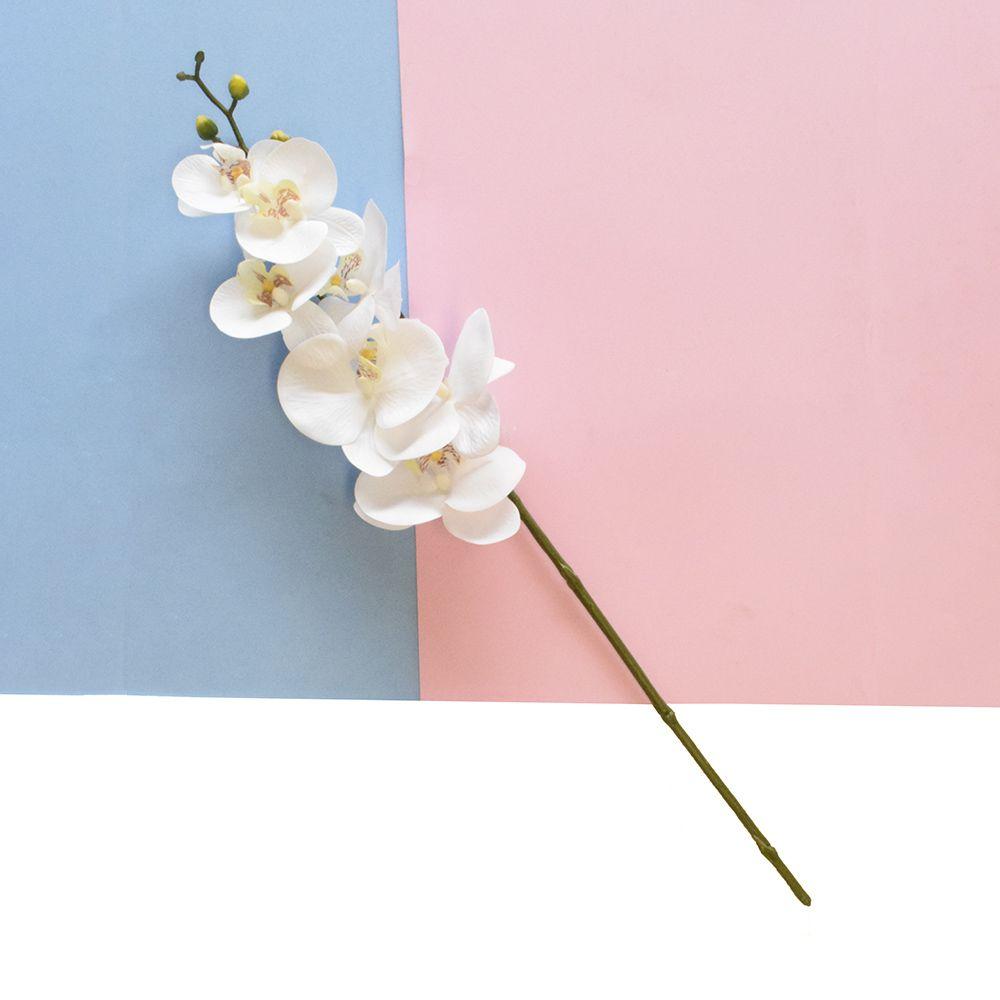 Flores Artificiais Haste de Orquídea Toque Real Branca|Linha permanente Formosinha
