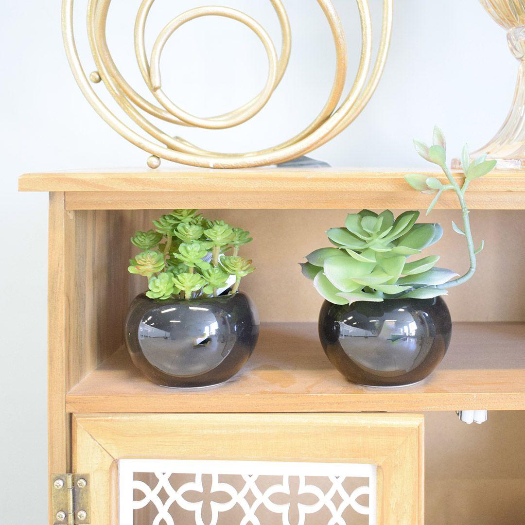 Flores Artificiais Kit com Dois Arranjos de Suculentas Permanentes |Linha permanente Formosinha