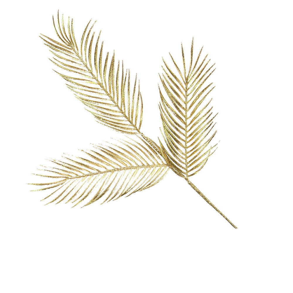 Folha Artificial Natalina Palmeira Dourada  | Linha Natal Encantado Formosinha